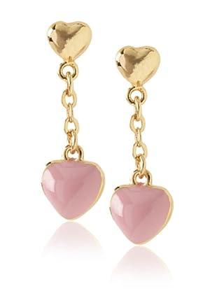 Frida Girl Pink Enamel Hanging Heart Earrings