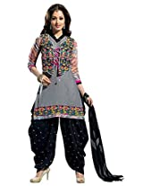 Vibes Women Georgette Salwar Suit Dress Material (V183-10 _Grey _Free Size)