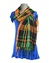 Sofias Exclusive Viscose Woven Medium Shawl,Size-70 cms x 200 cms,Color-Green / Orange