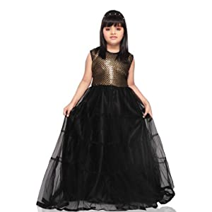 Black Faux Georgette and Net Readymade Gown