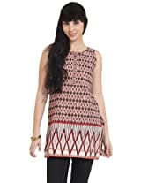Diva Women's Cotton Iket Printed Cotton Red Kurta - L