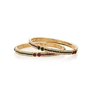 Voylla Bangles Pair Featuring Coloured Sparkle with Prong-set Red, Green Stones, Size 2-6