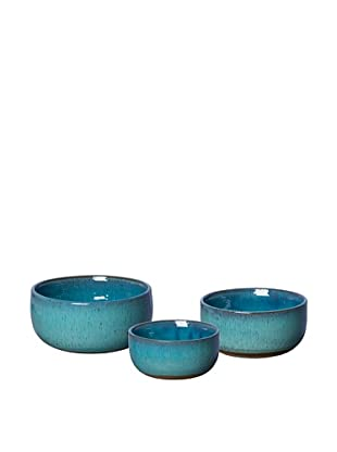 Emissary Set of 3 Ceramic Bowls, Turquoise