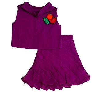 sonali mansingka cowled neck top w/ pleated girl's skirt-purple