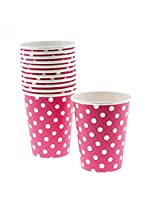 PrettyurParty Polka Dots Paper Cups (Pack of 10) - Dark Pink