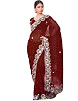 Bharat Plaza Rusty Brown Georgette Saree