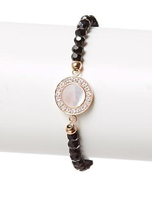 Chloe Collection By Liv Oliver Rose Mother of Pearl & Swarovski Crystal Stretch Bracelet
