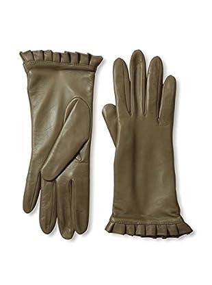 Portolano Women's Ruffle Cuff Leather Gloves (Pine)