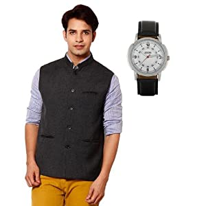 Zion Grey Plain Men Nehru Jacket With Watch ZW 340 ZJ 121