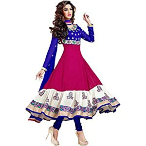 Vaamsi Womens Georgette Unstitched Salwar Suit Dress Material (Au1008 _Pink _Free Size)