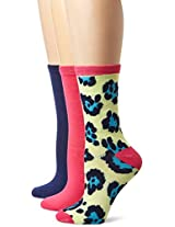 Betsey Johnson Women's Funky Leopard Crew Socks 3-pack, Hot Pink, One Size