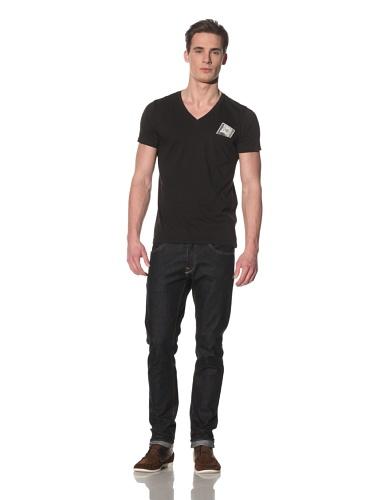 Tee Library Men's Never Lose Money V-Neck T-Shirt (Black)