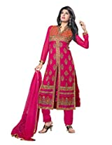7 Colors Lifestyle Pink Coloured Embroidered Georgette Semi-Stitched Salwar Suit