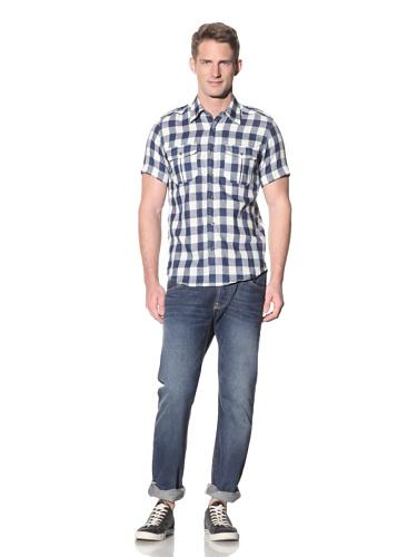 Barque Men's Buffalo Check Short Sleeve Shirt (Indigo)