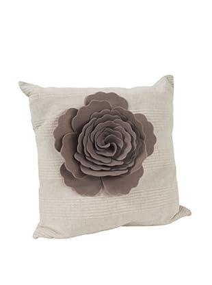 Saro Lifestyle Taupe Flower Design Pillow