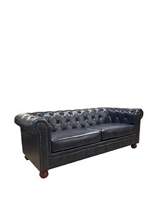 Armen Living Winston Bonded Leather Vintage Sofa, Blue