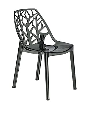 LeisureMod Modern Cornelia Dining Chair, Transparent Black