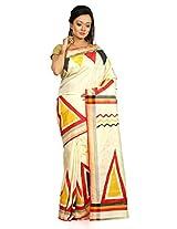 B3Fashion Handloom Traditional handpainted Pure Bishnupur Tussar Silk saree