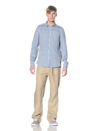 J.C. Rags Men's Button-Up Linen Shirt (Indigo)