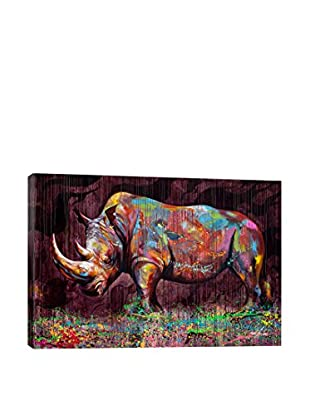 Noe Two Rhino Canvas Print, Multi, 18