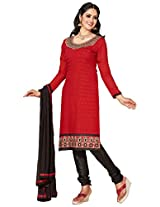 Manvaa Red And Black Embroidered Suit With Chanderi Cotton Fabric