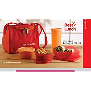 Tupperware Plastic Lunch Bag Set with Bag, 4-Pieces, Multicolour