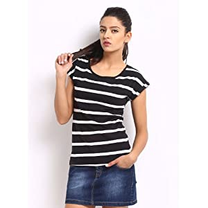 Roadster Women Black & White Striped Top