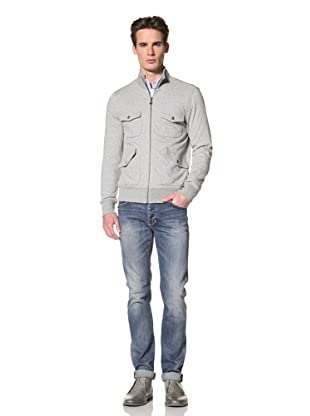 Onassis Men's Cabell French Terry Zip Up Jacket with Jacquard Lining (Light Heather Grey)