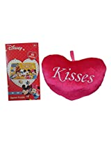 "Disney Mickey Mouse 50 Piece Jigsaw Puzzle, And ""Kisses"" 8 Inch Plush Pillow"