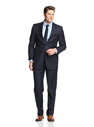 hickey Men's Pinstriped 2 Button Center Vent Suit (Black)