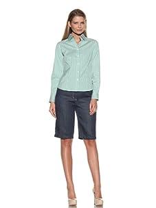 Loro Piana Women's Estell Holly Button-Up Shirt (White/Summer Green)