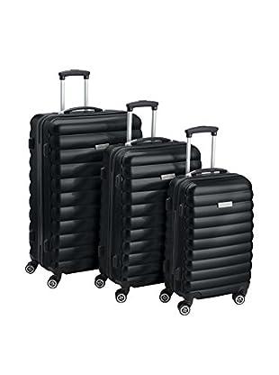 Luggagezone 3er Set Hartschalen Trolley Upright schwarz
