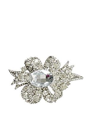 Winward Faux Diamond Bow Brooch, Silver