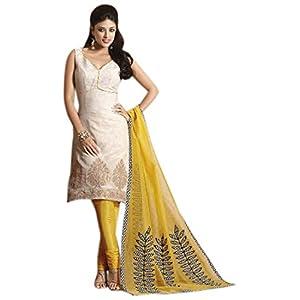 Cream Chanderi Cotton Readymade Churidar Kameez