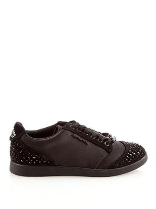 Fornarina - Zapatos de cordones de satén para mujer (Negro)