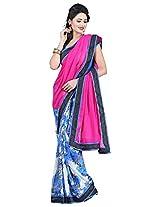 Saikrupatex Women's Chiffon Saree (Jay508, Pink)