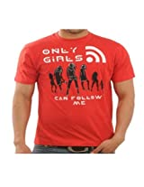 Funktees Men's Round Neck Cotton T-Shirt Red Small