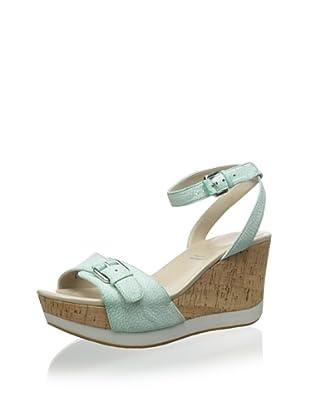 Rockport Women's Talayah Buckle Wedge Sandal (Aqua Sea Turquoise)