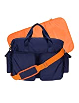 Trend Lab Deluxe Duffle Style Diaper Bag, Navy Blue and Orange