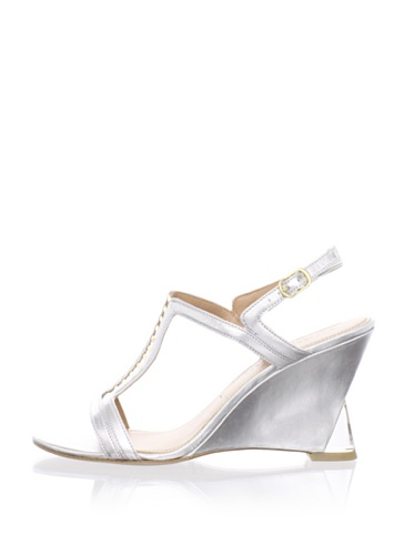 Sigerson Morrison Women's Dynn Wedge Sandal (Silver)