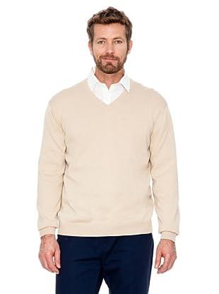 Cortefiel Pullover V-Ausschnitt (Beige)