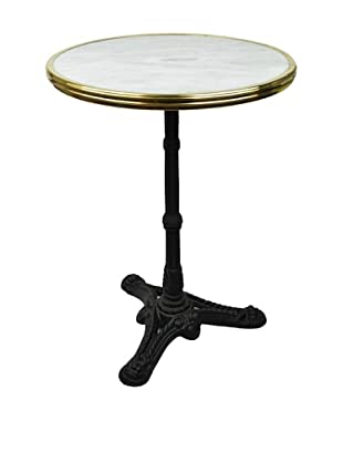 Bonnecaze Absinthe & Cuisine French-Style Marble and Iron Bistro Table (White/Black)