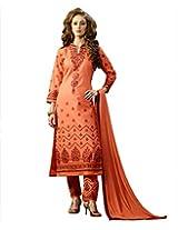 BlueWoman orange cotton dress material