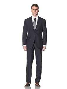 Yves Saint Laurent Men's Nailhead with Pinstripe Suit (Navy/Ecru)