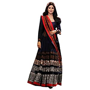Shilpa Shetty Bollywood Anarkali Suit, Blue