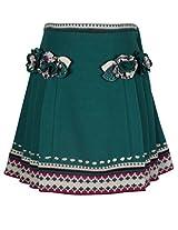 Cutecumber Girls Woolen Embellished Green Knee Length Skirt