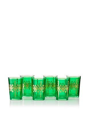 Found Objects Set of 6 Souad Moroccan Glasses (Green)