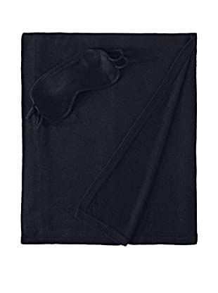 a & R Cashmere 3-Piece Travel Set - Throw, Eyemask and Bag, Navy