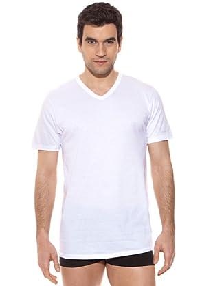Kappa Camiseta mc Caballero Cuello Pico 100% Algodón (Blanco)
