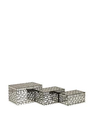 Set of 3 Foley Mirror Mosaic Boxes